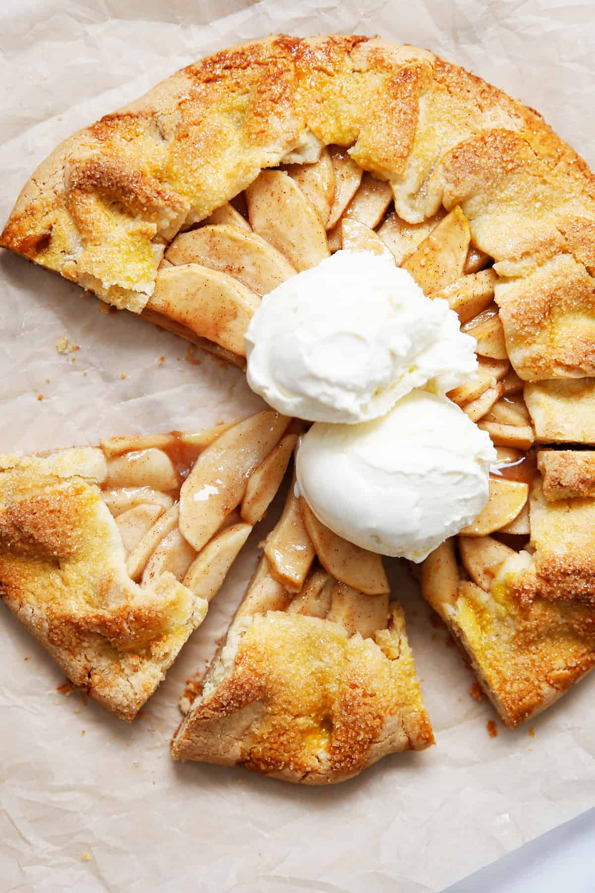 A gluten free apple galette with ice cream on it