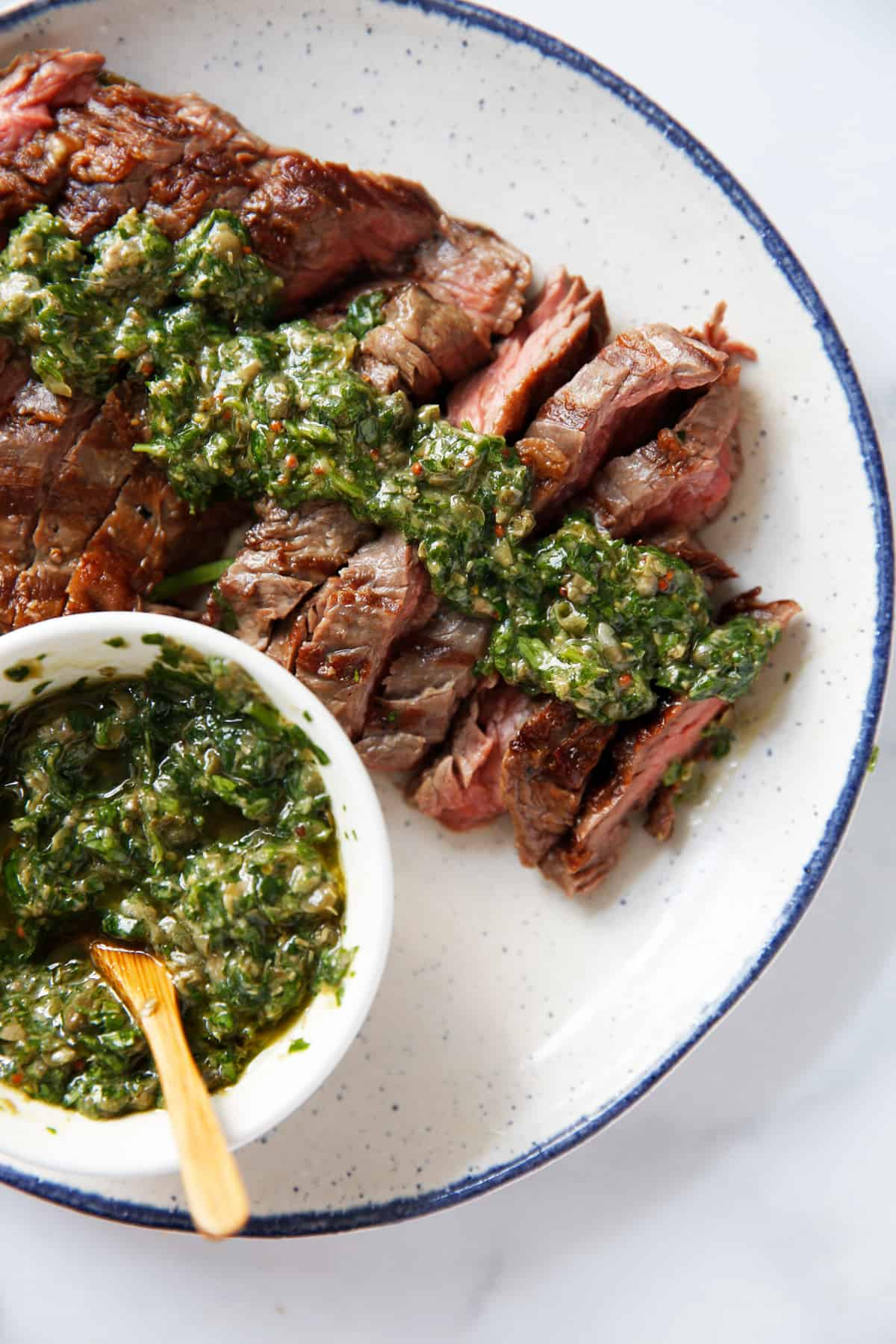 Grilled skirt steak with salsa verde