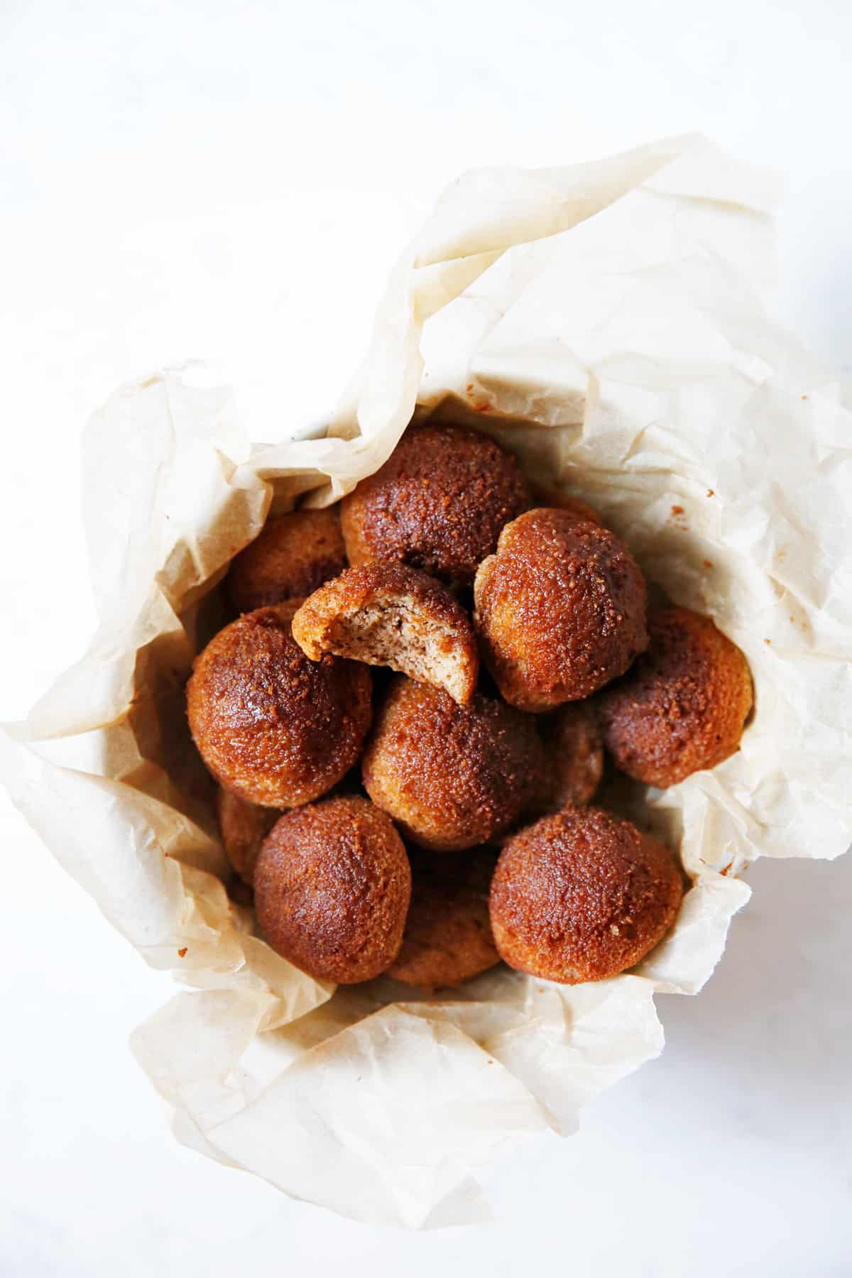 gluten free apple cider donuts in a bowl