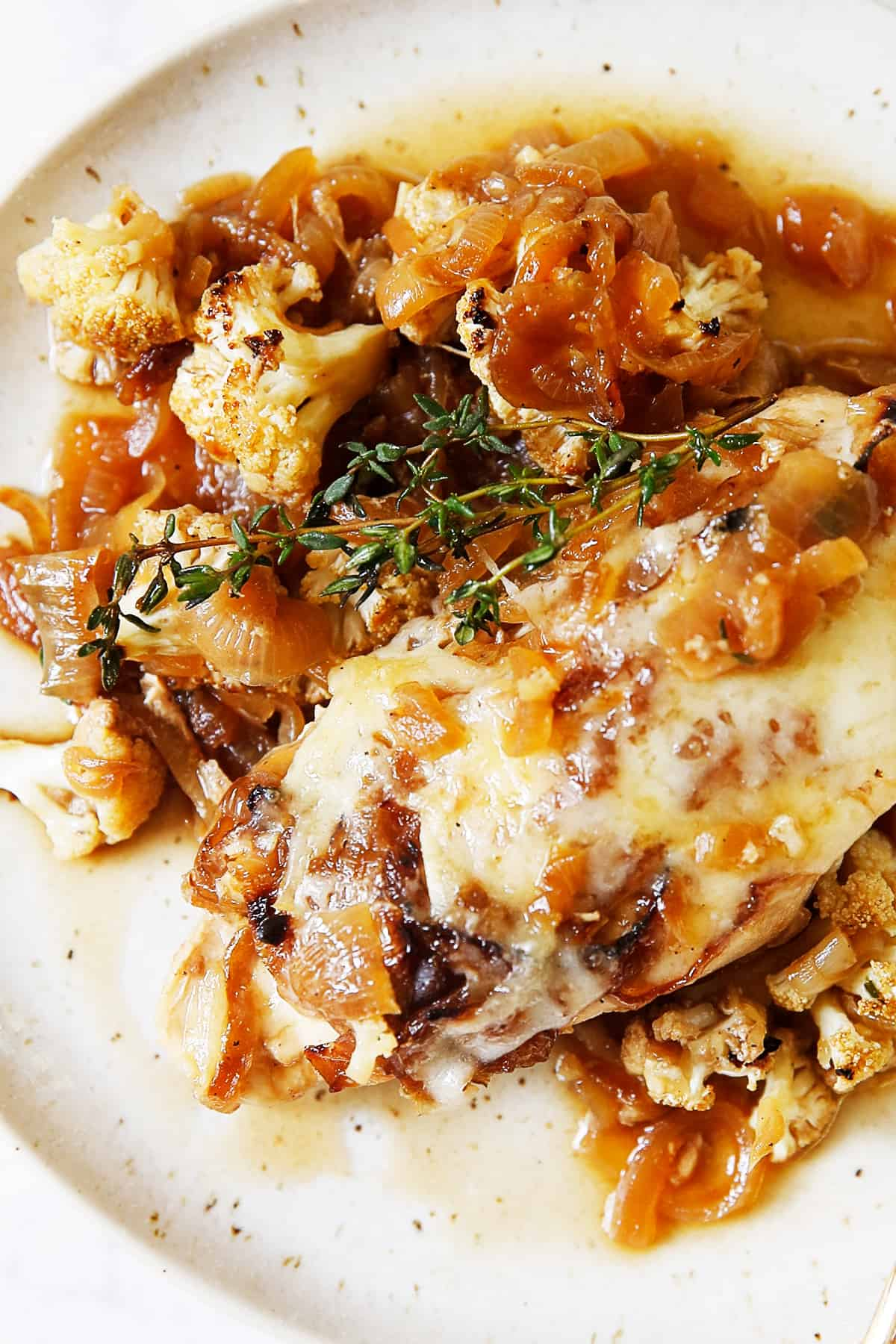 French onion soup chicken casserole on a plate