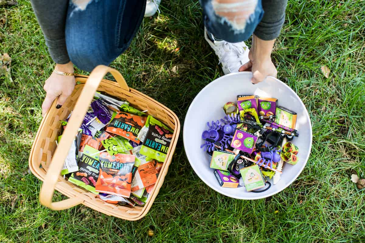 healthy halloween candy for trick-or-treaters in a basket