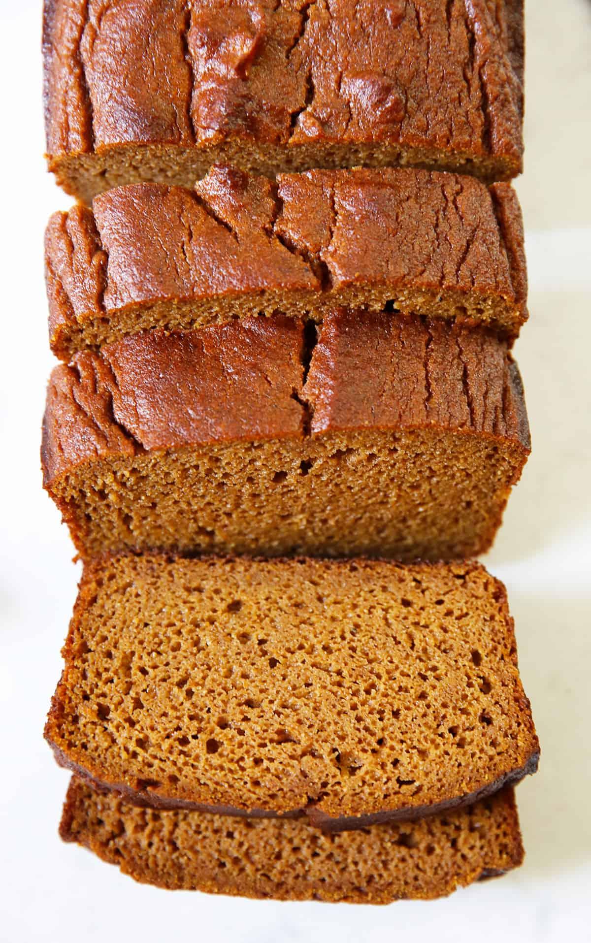 Sliced gluten free pumpkin bread