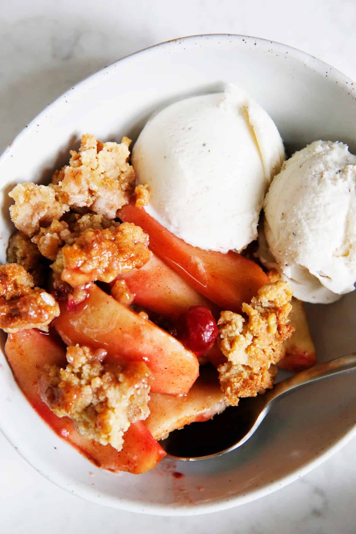 Paleo apple crisp recipe in a bowl.