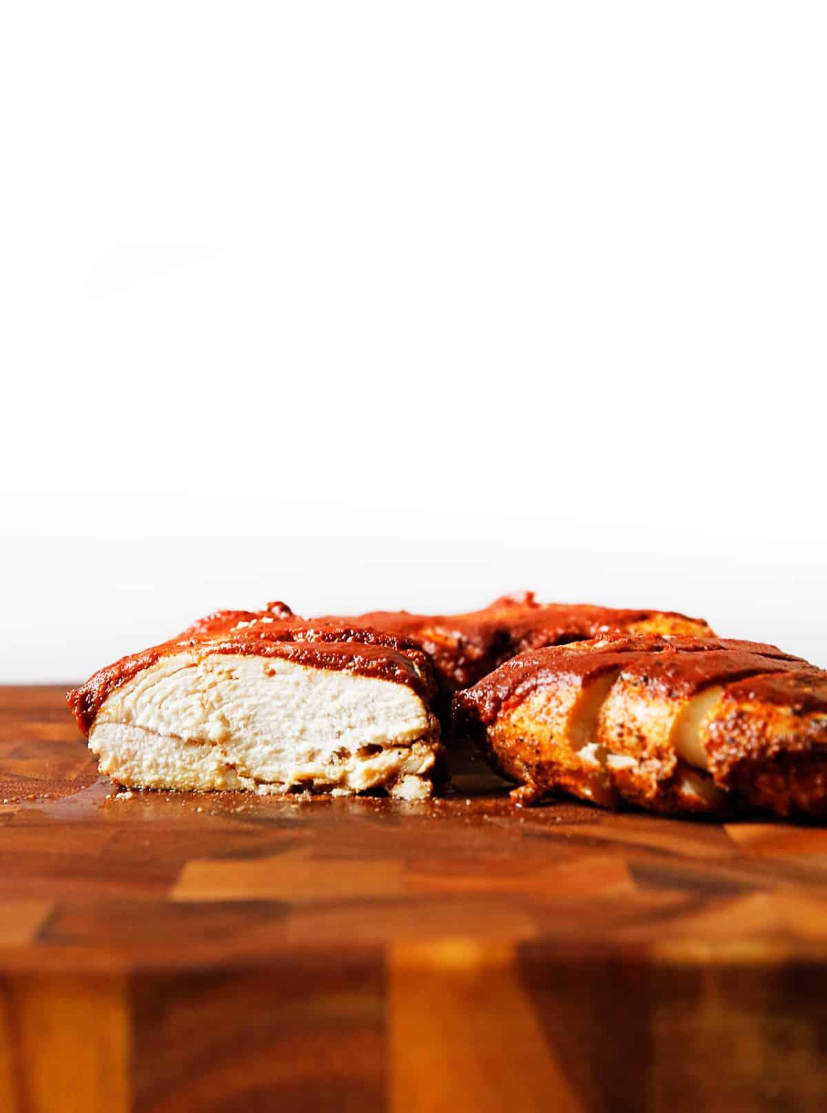 Juicy sliced baked bbq chicken breast