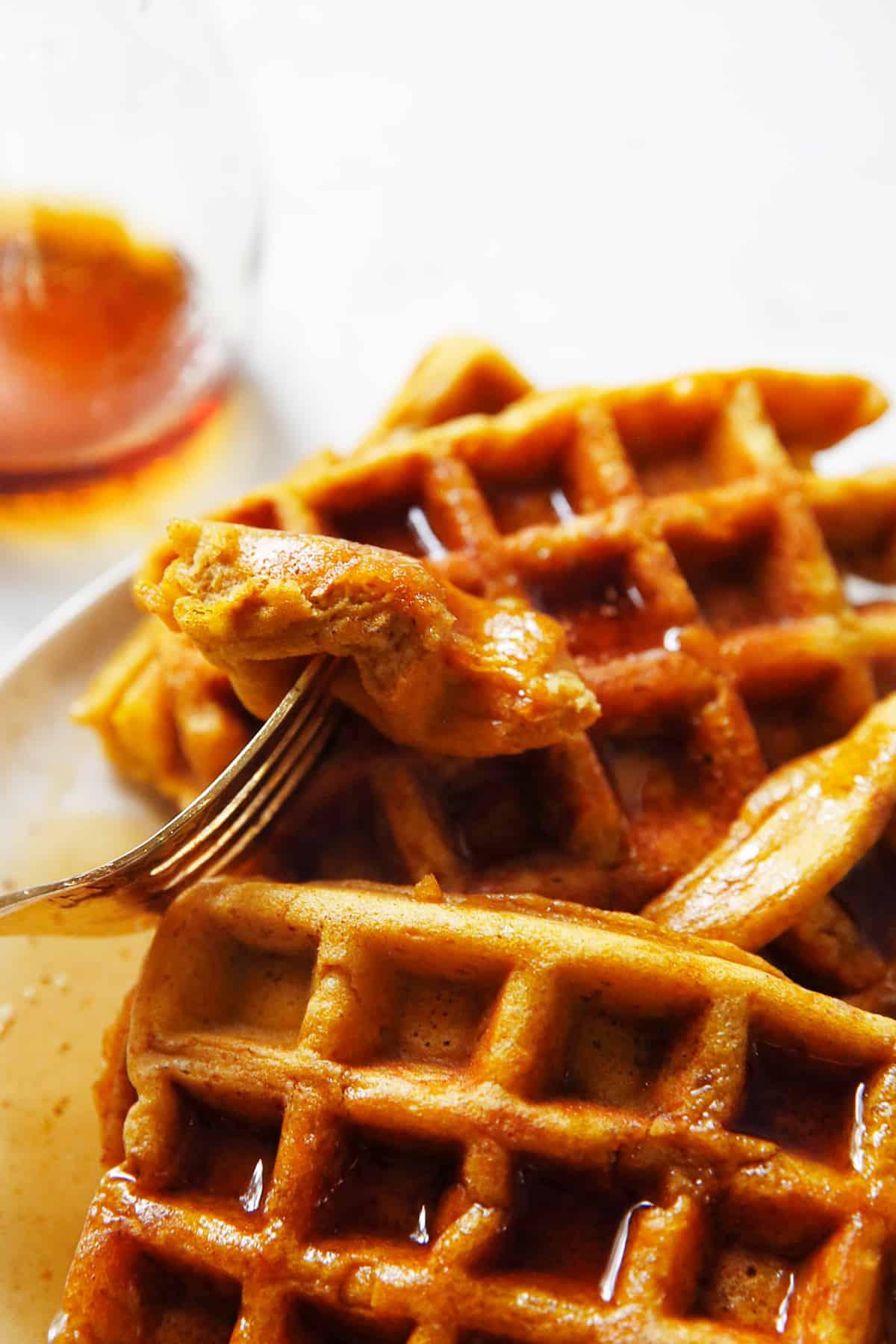 gluten free pumpkin waffles on a fork
