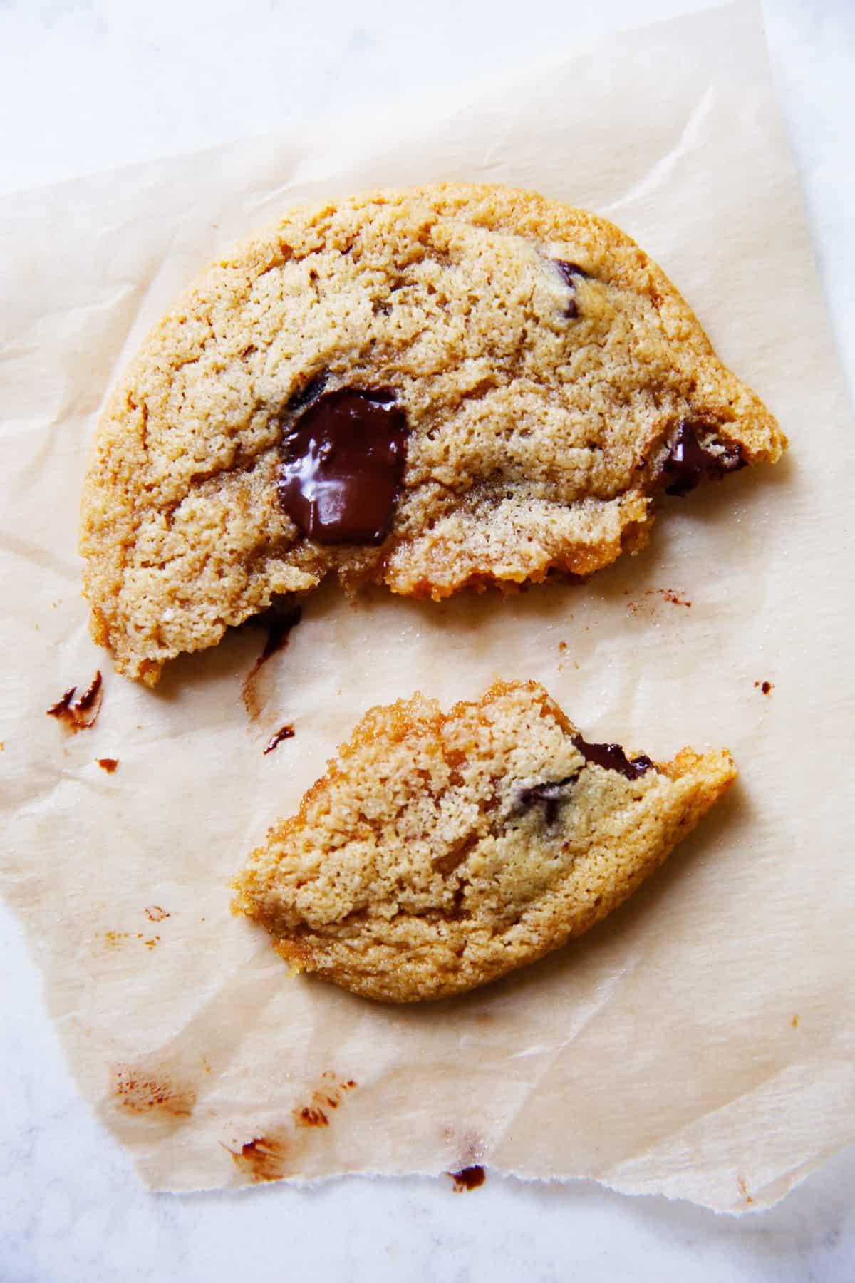 gluten free chocolate chip cookies broken apart