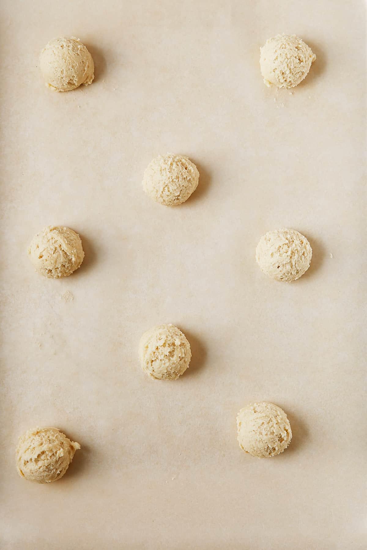 Gluten free sugar cookie dough on a baking sheet