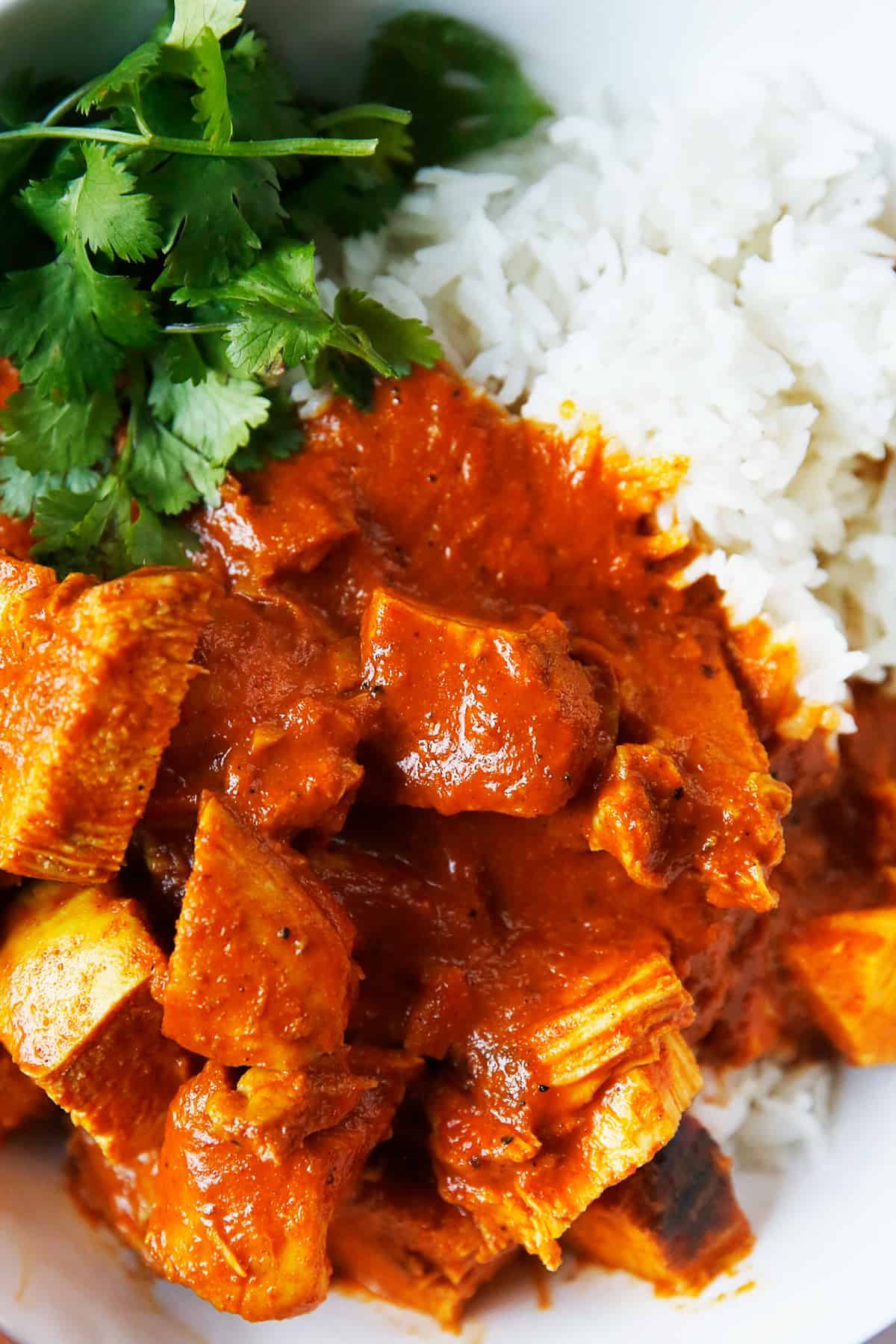 Instant Pot Butter Chicken with rice and cilantro