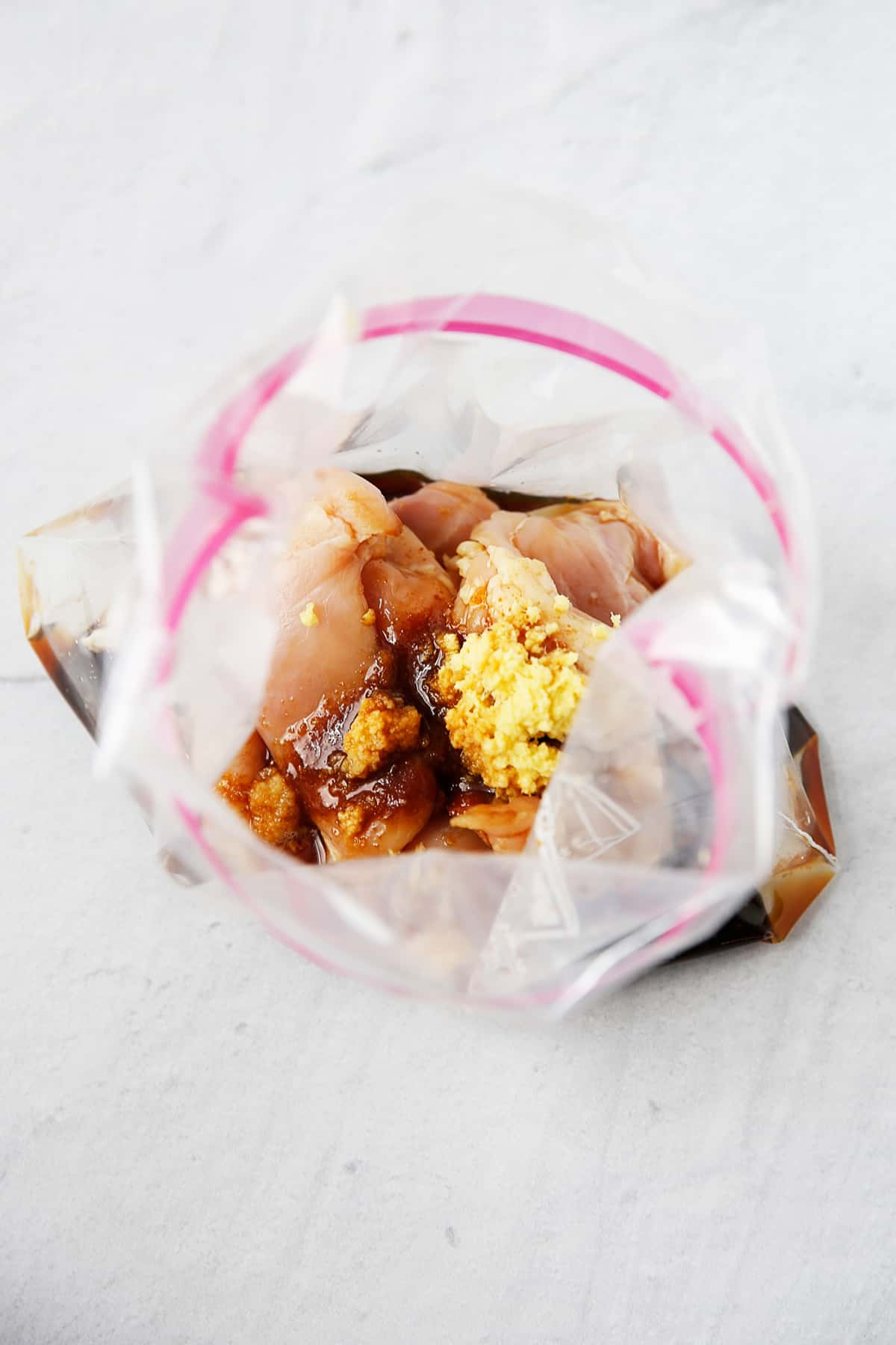 Dump freezer teriyaki chicken in a freezer bag