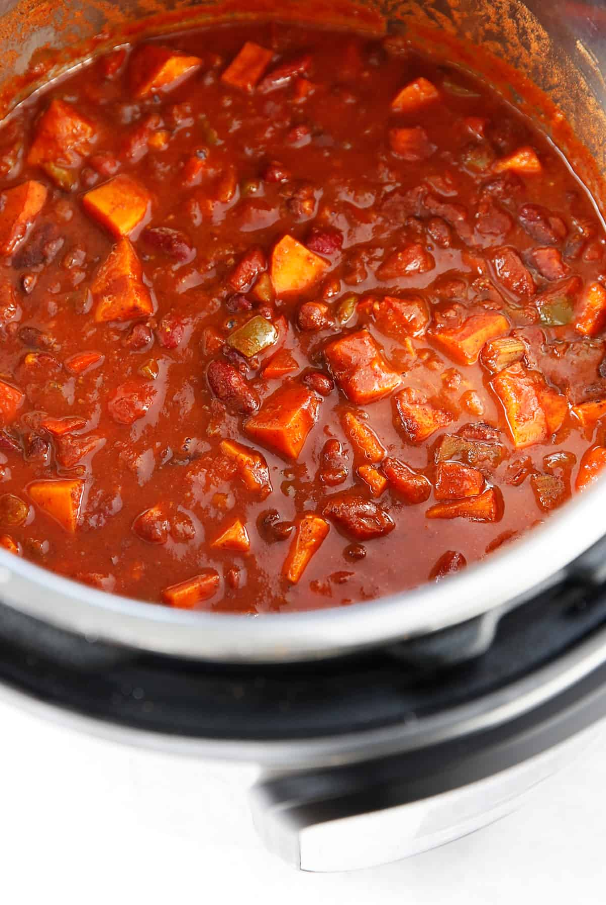 Sweet potato chili in the Instant Pot.