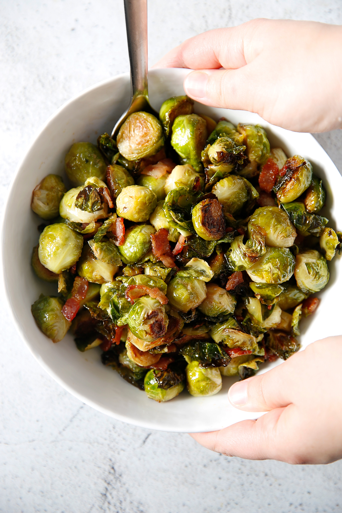 Roasted brussel sprouts with bacon in a bowl