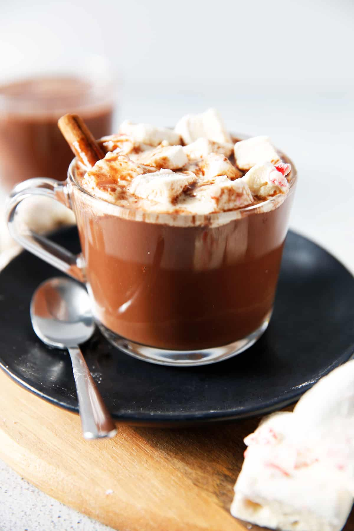 Dairy free hot chocolate with marshmallows in a mug