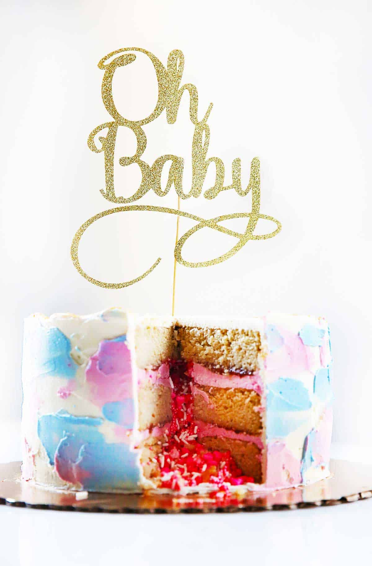 Baby girl announcement cake