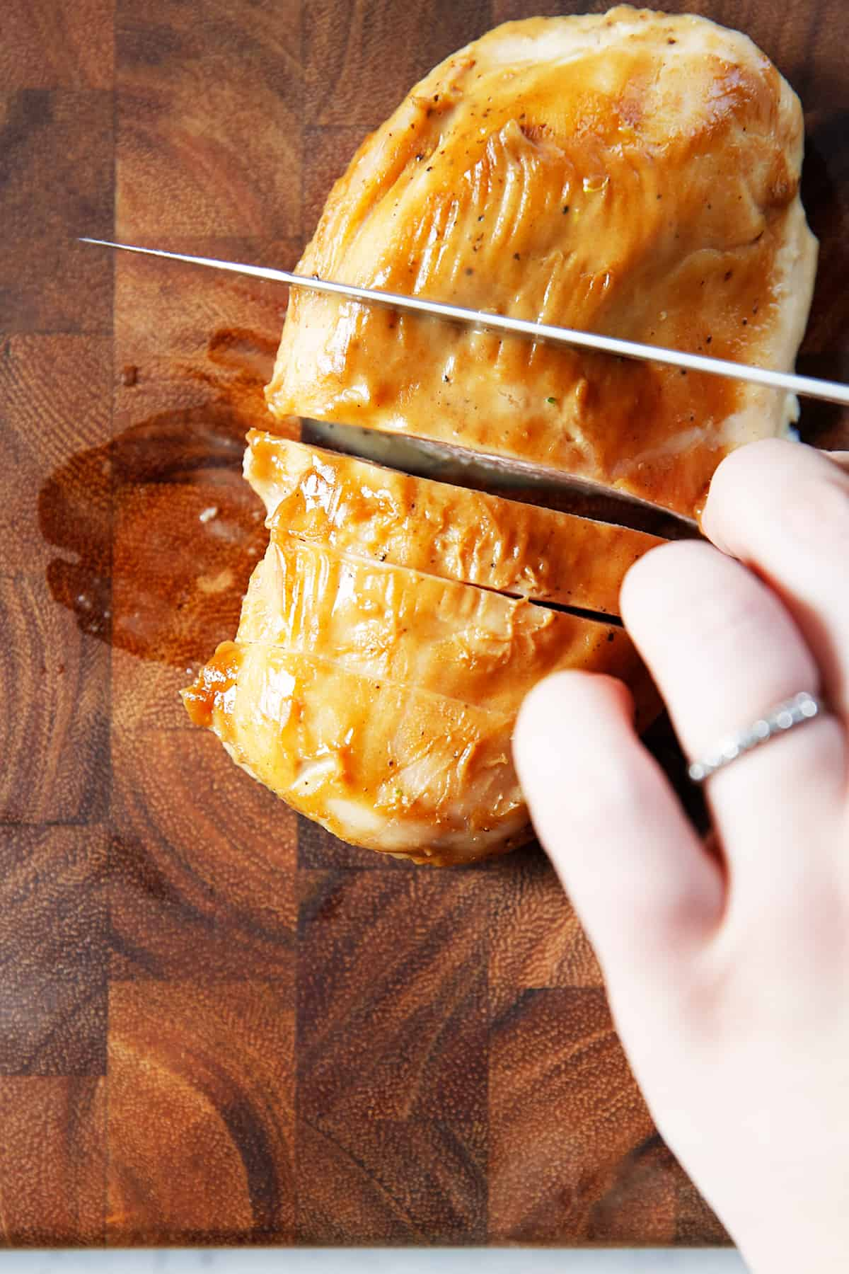 Slicing Maple Mustard Chicken.