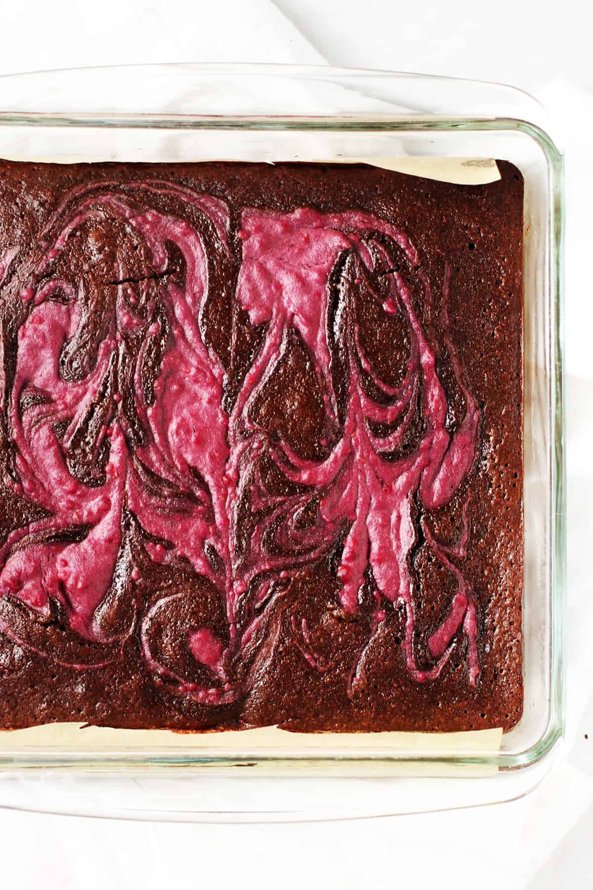 Raspberry Swirl brownies in a baking dish.