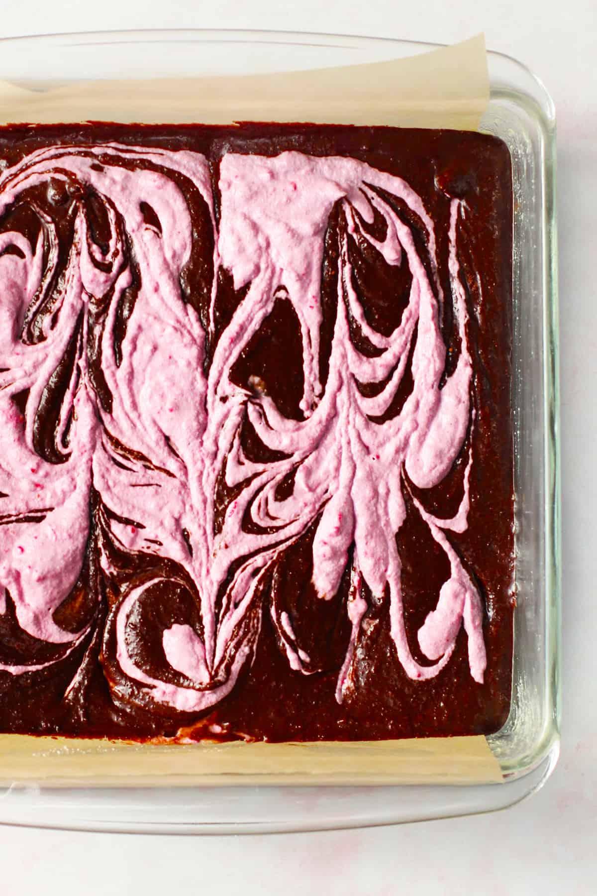 Raspberry cream swirled throughout brownie batter.