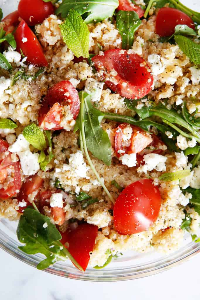 Quinoa salad with mint and feta.