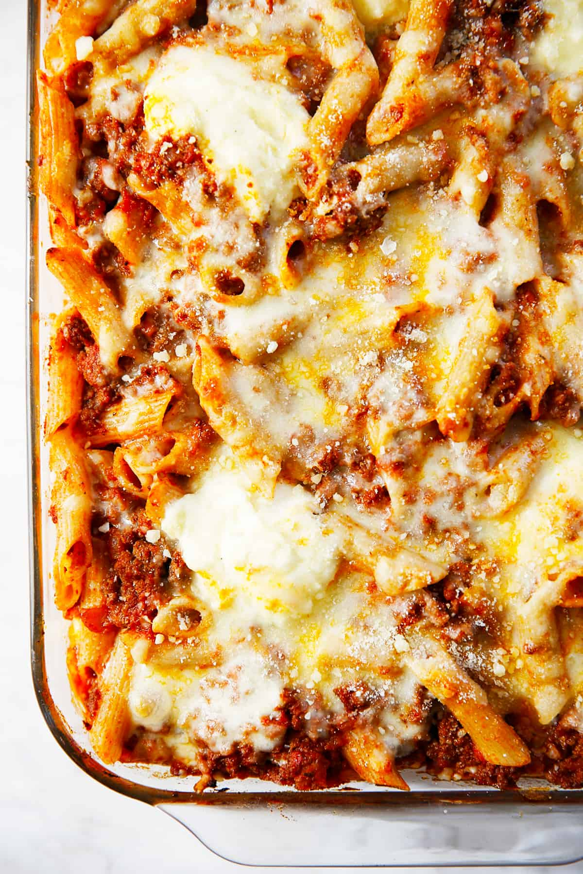 Baked ziti in a dish.