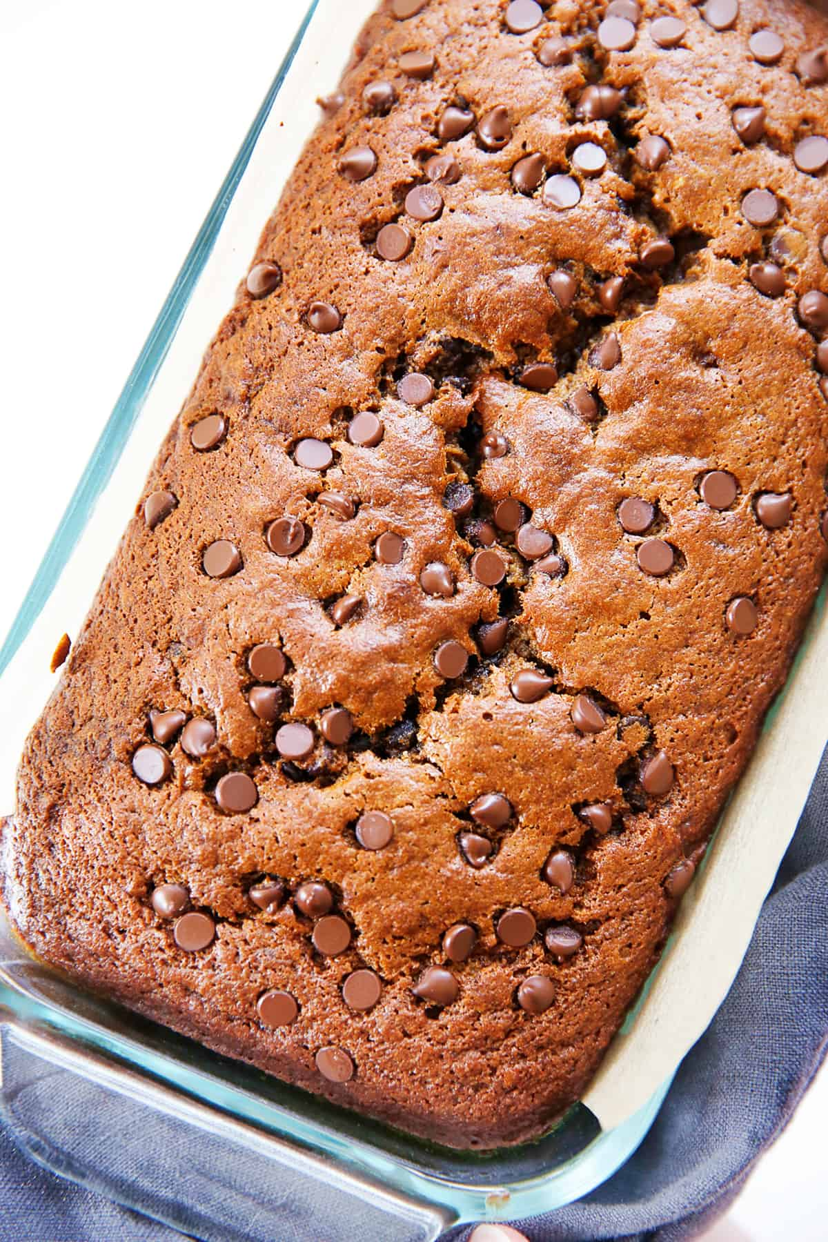A loaf of gluten free banana bread with chocolate chips.