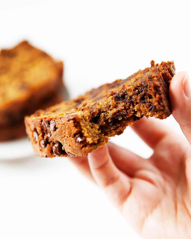 A slice of gluten-free chocolate chip banana bread.