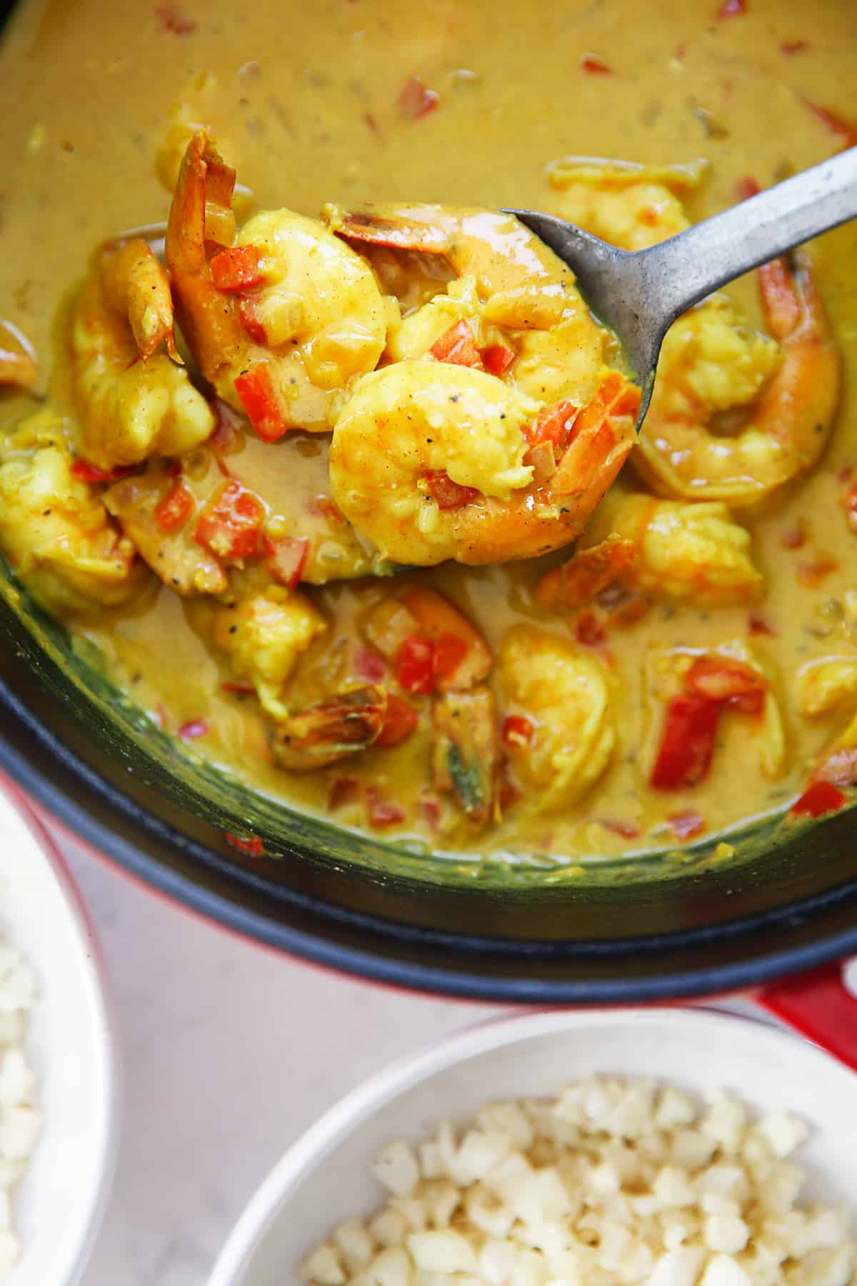 A spoonful of quick curry shrimp.
