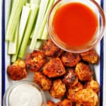 Buffalo meatballs on a platter.