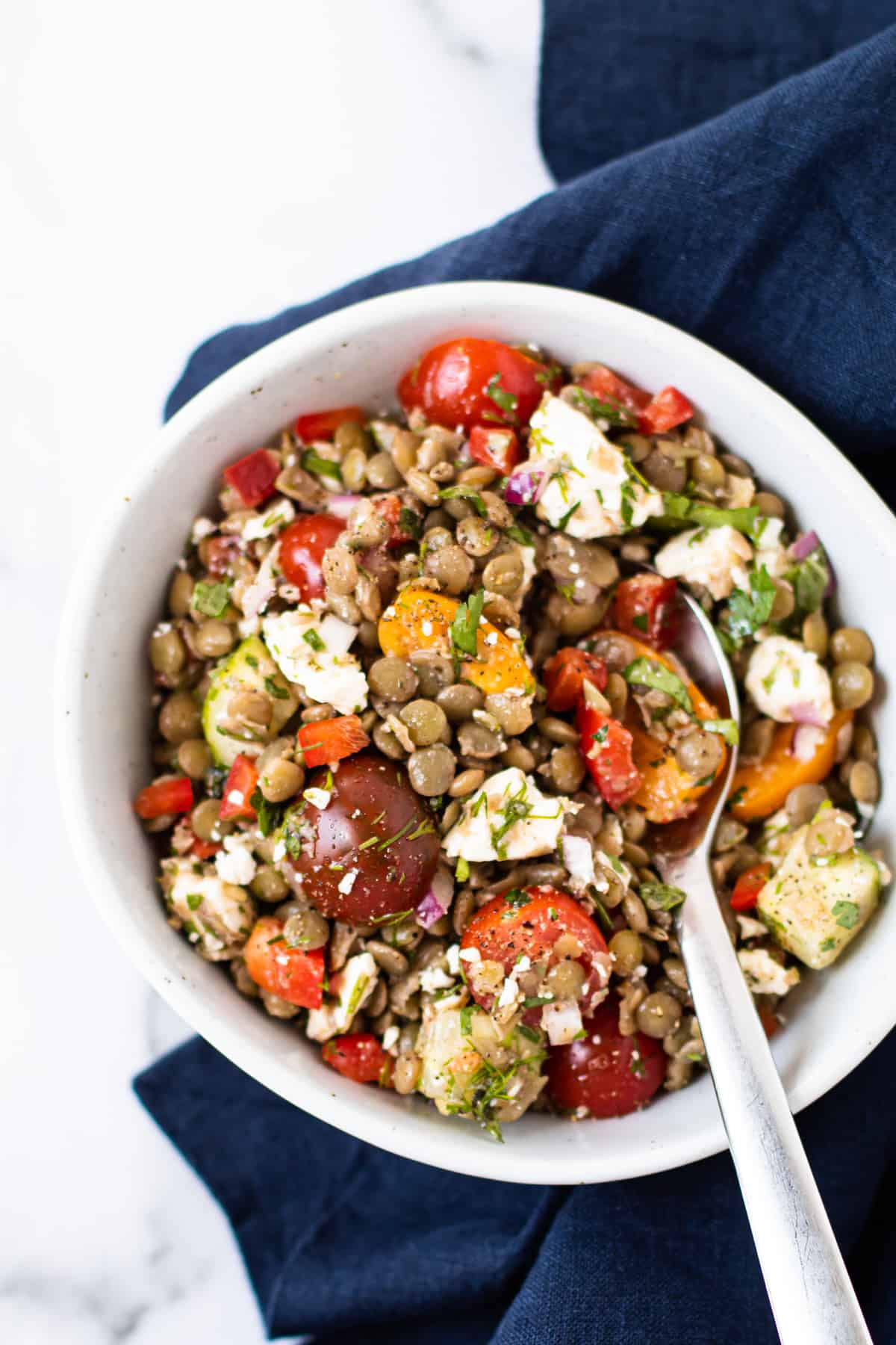 Greek lentil salad with tomatoes and feta.