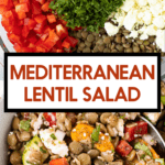 A greek salad made from lentils with tomatoes, feta and herbs.