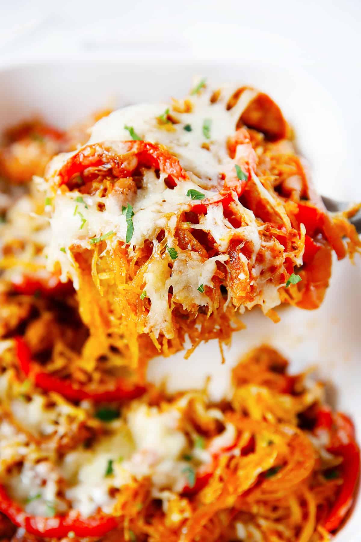 Fajita Spaghetti Squash Casserole on a spoon