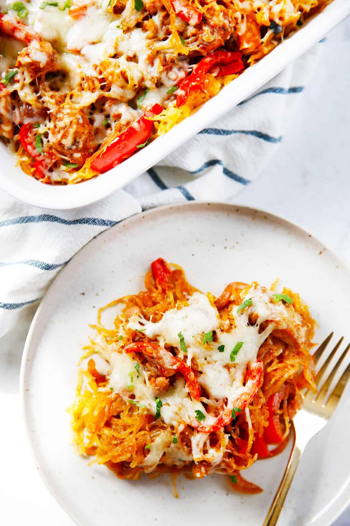 A serving of fajita spaghetti squash casserole on a plate.