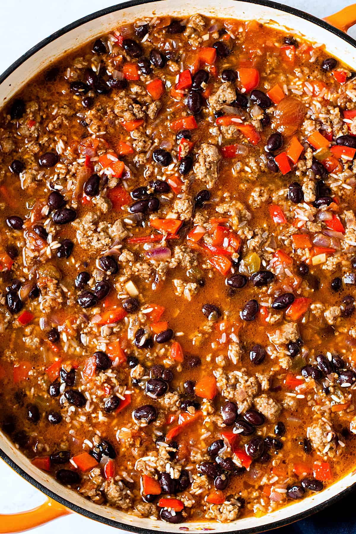 Easy Taco Casserole in a skillet before baking