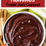 A bowl of chocolate hummus with fruit and pretzels for dipping.