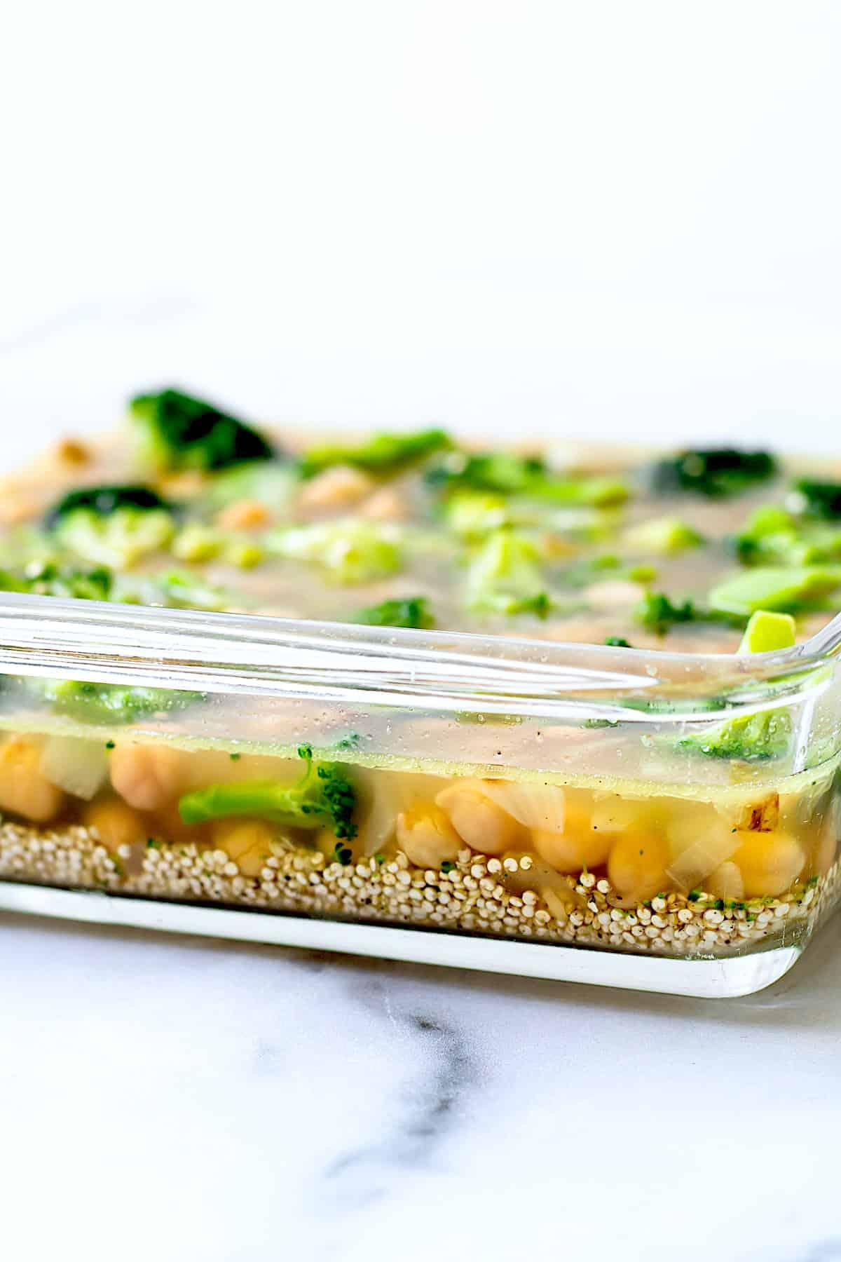 An unbaked broccoli Quinoa Casserole