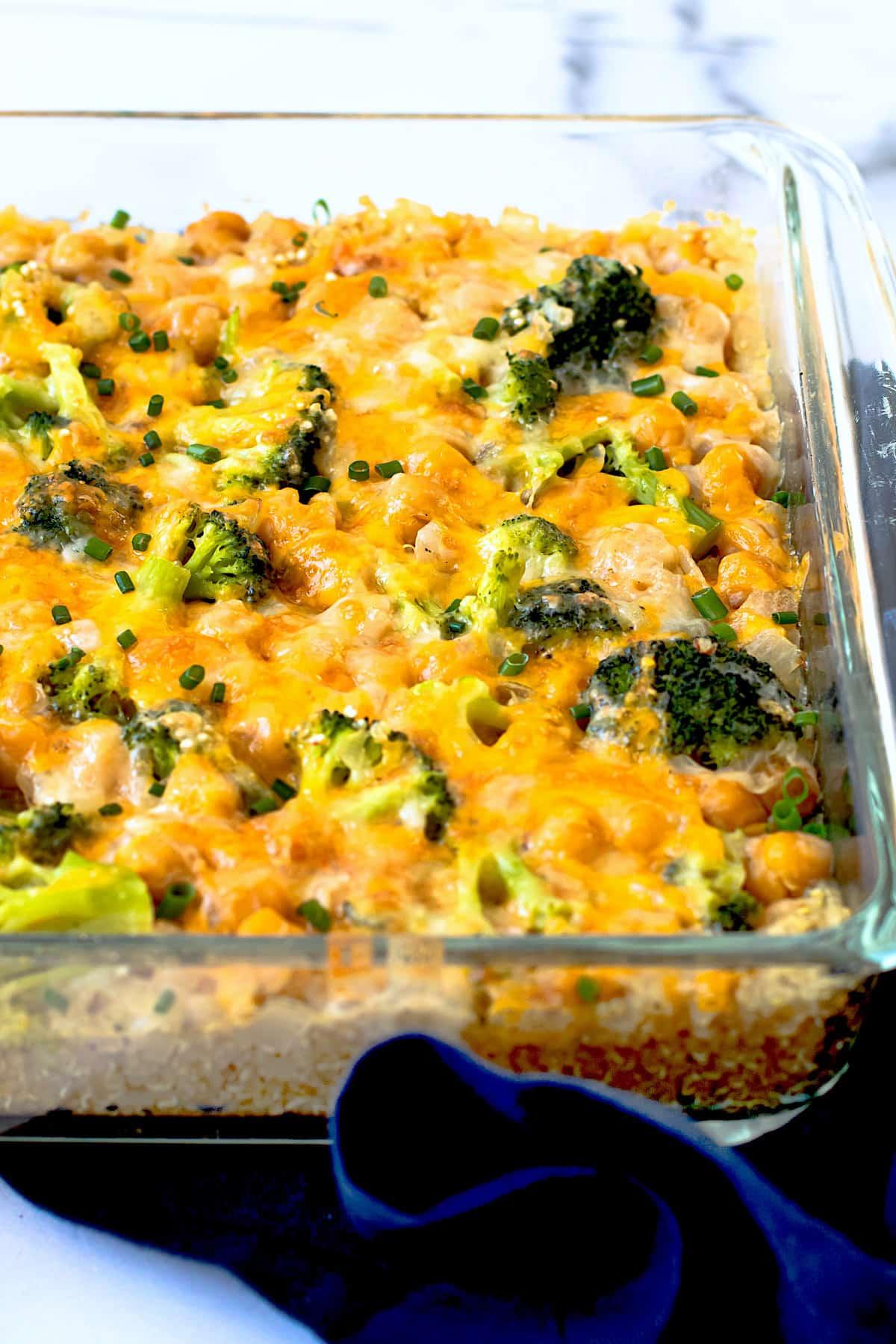 A broccoli cheddar Quinoa Casserole in a baking dish.