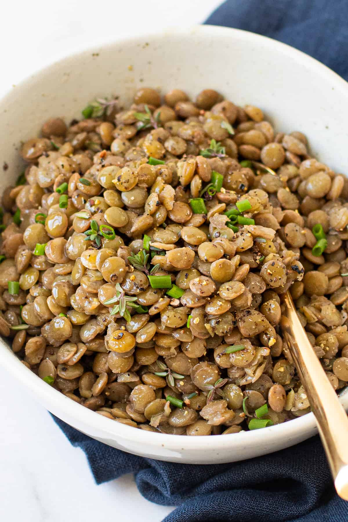 Cooked lentils with herbs in a bowl.