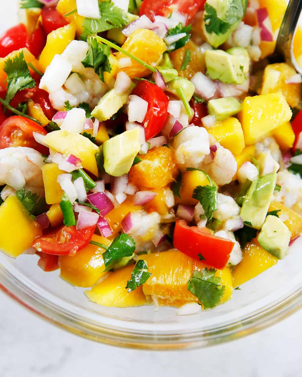 Tropical Shrimp ceviche in a bowl.