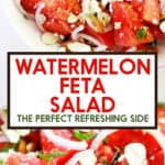 A bowl of watermelon salad with onions, feta and almonds.