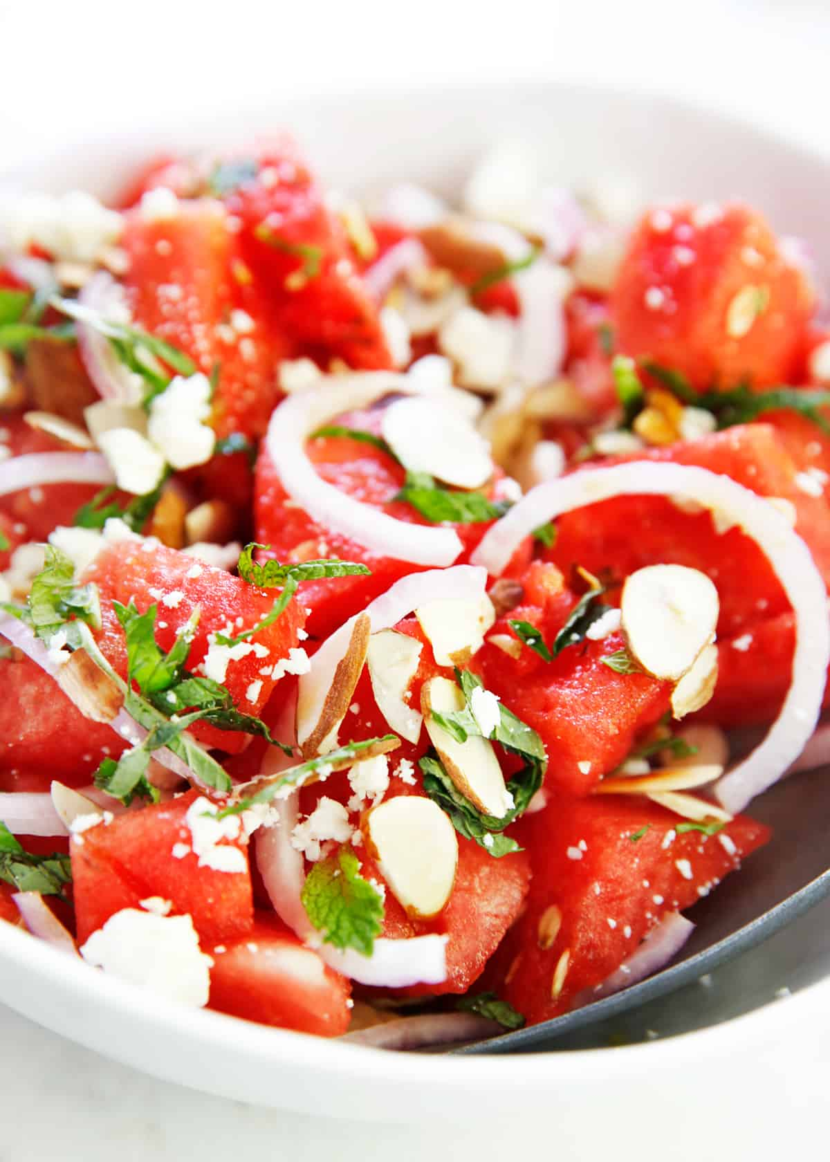 A dish of easy watermelon salad.
