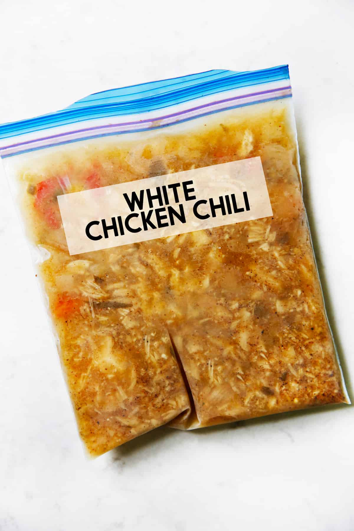 A bag of white chicken chili for the freezer.
