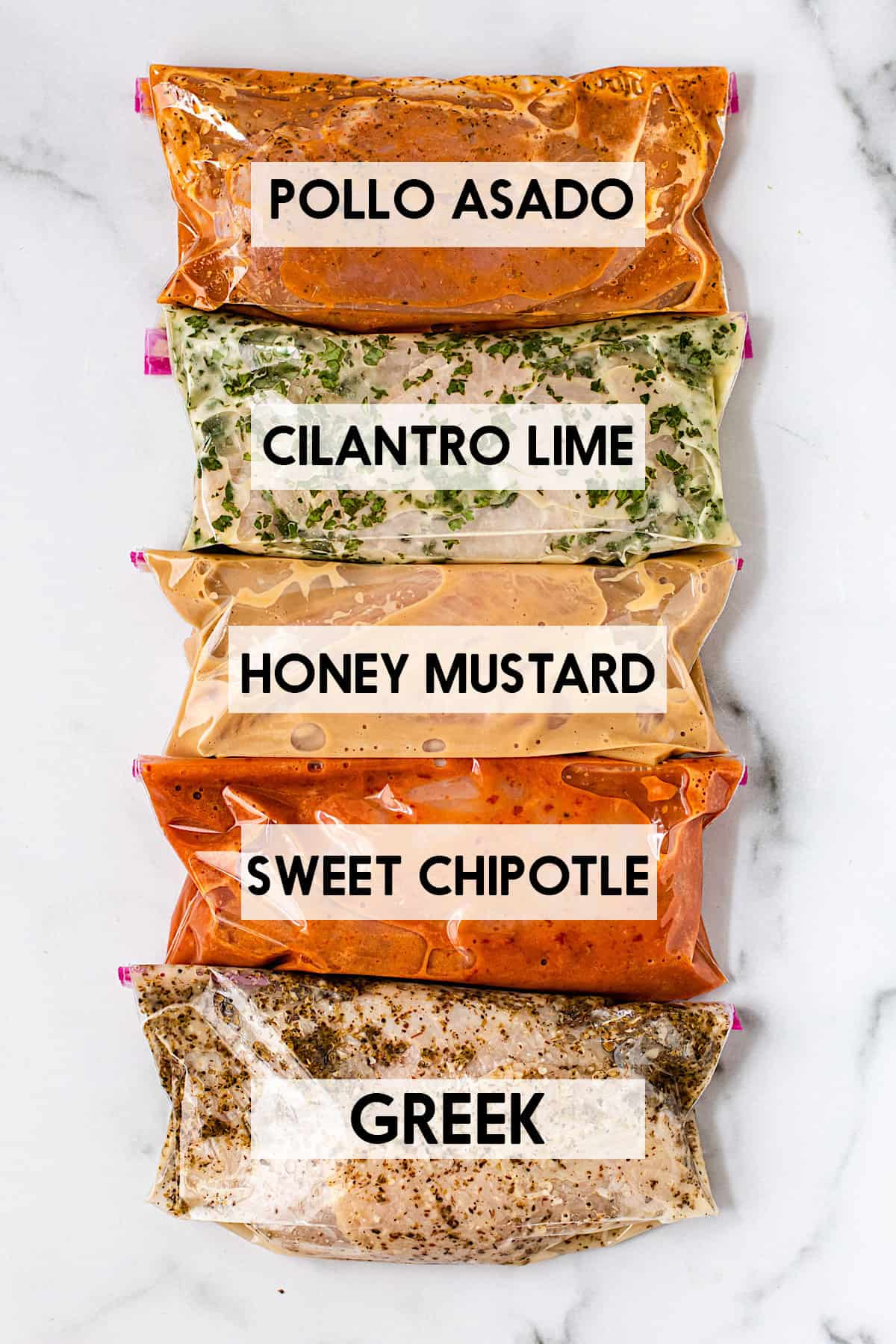 5 easy chicken marinade recipes in bags with a text overlay of the names.