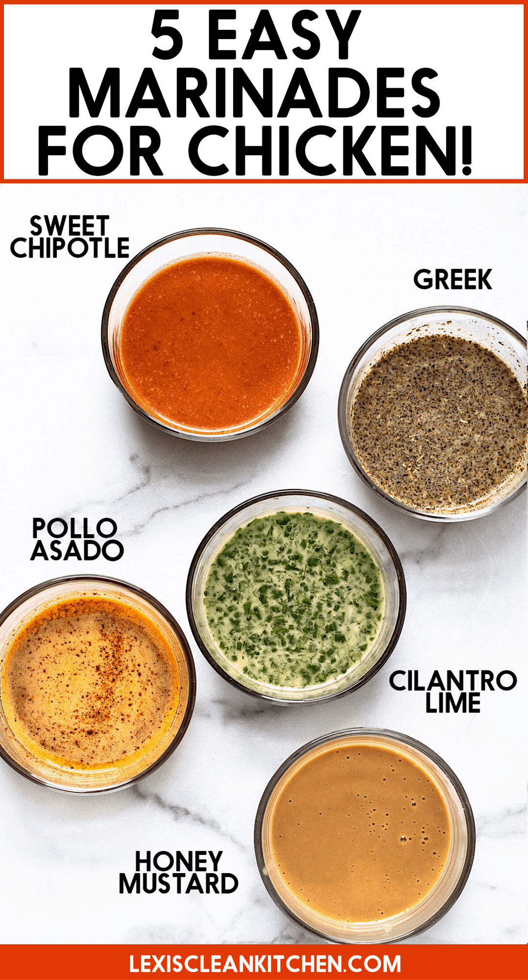 Easy chicken marinades in 5 different bowls.