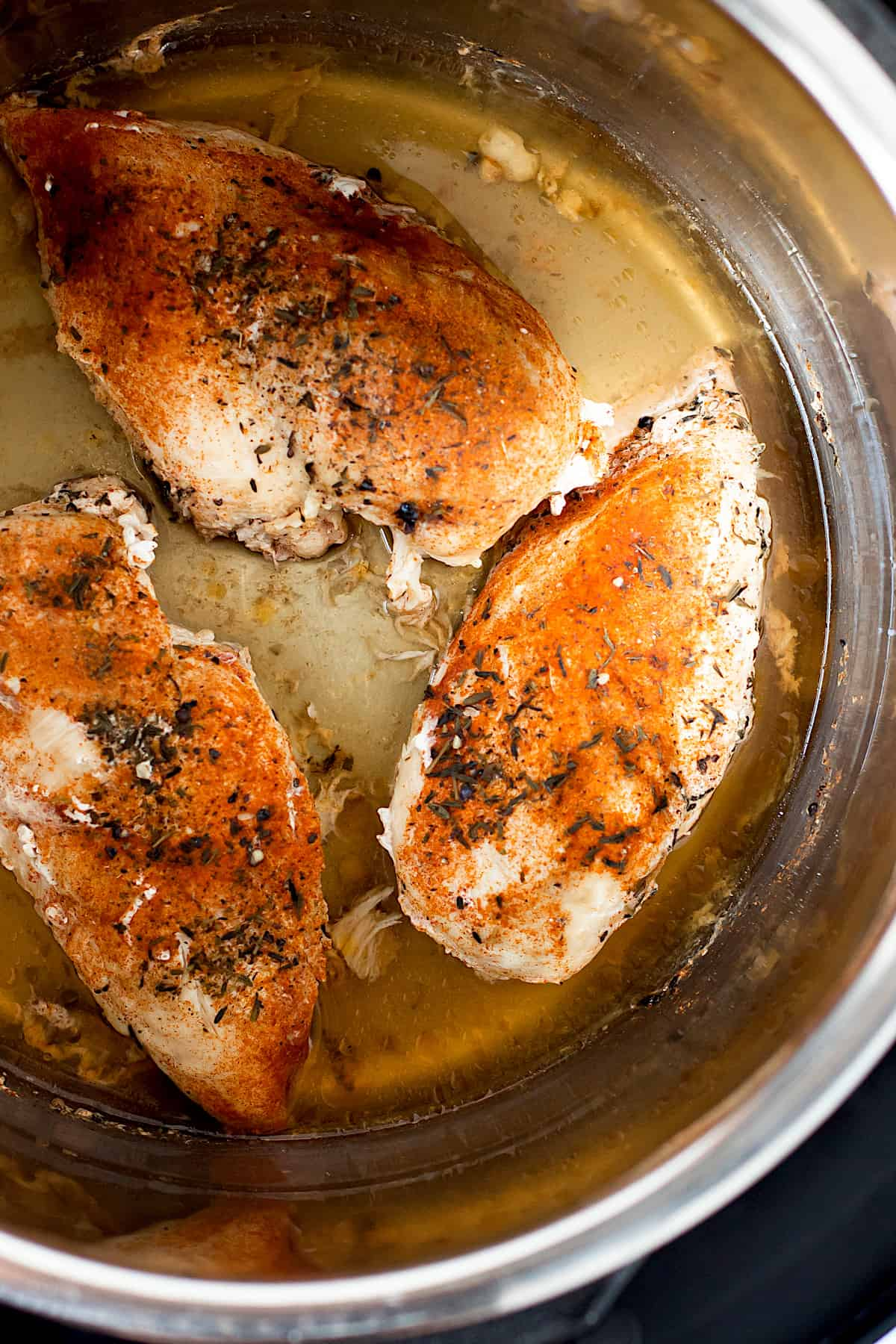 Fully cooked chicken breasts in the Instant Pot.