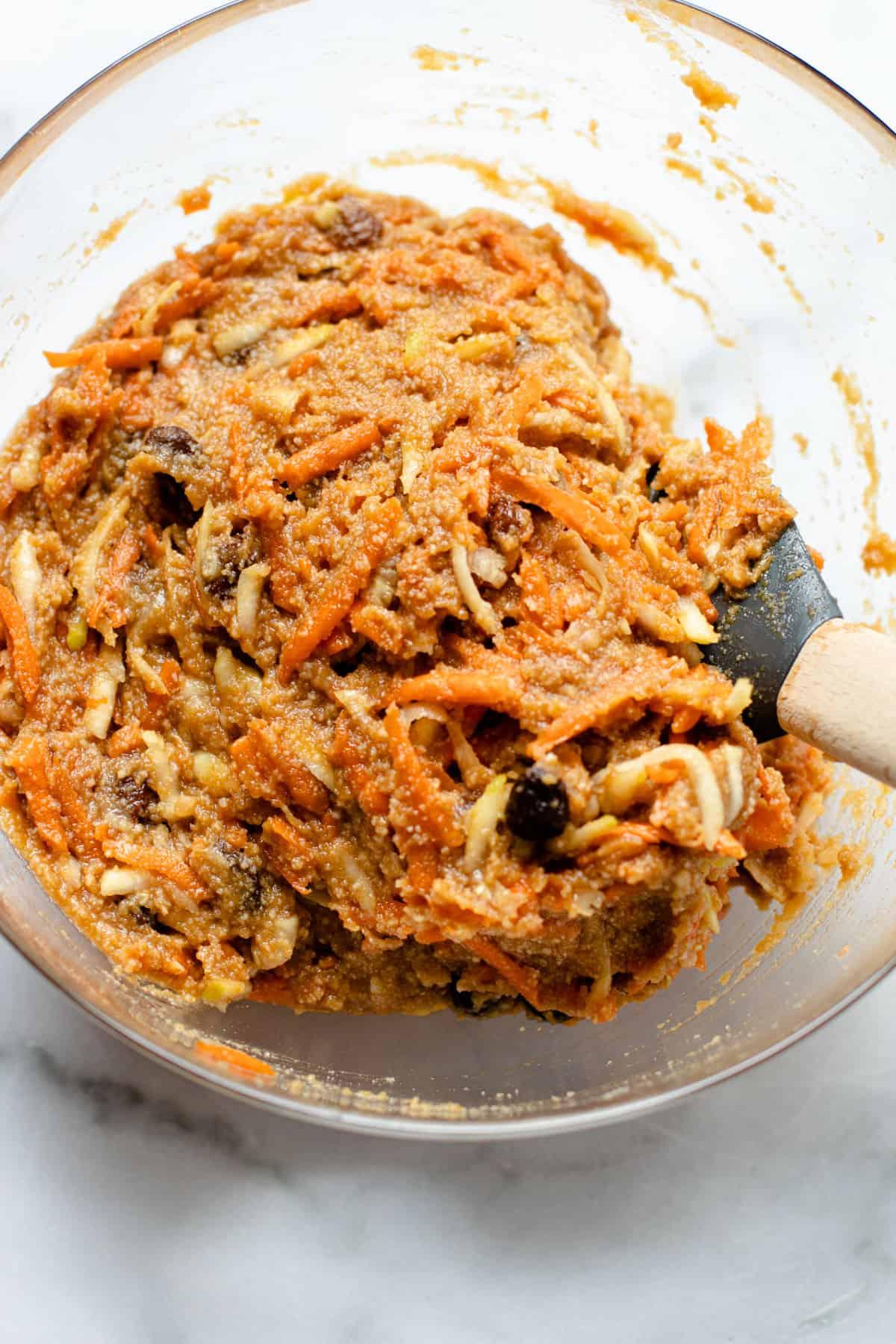 Zucchini carrot bar batter in a bowl.