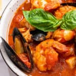Easy Cioppino Stew with mussels and fish.