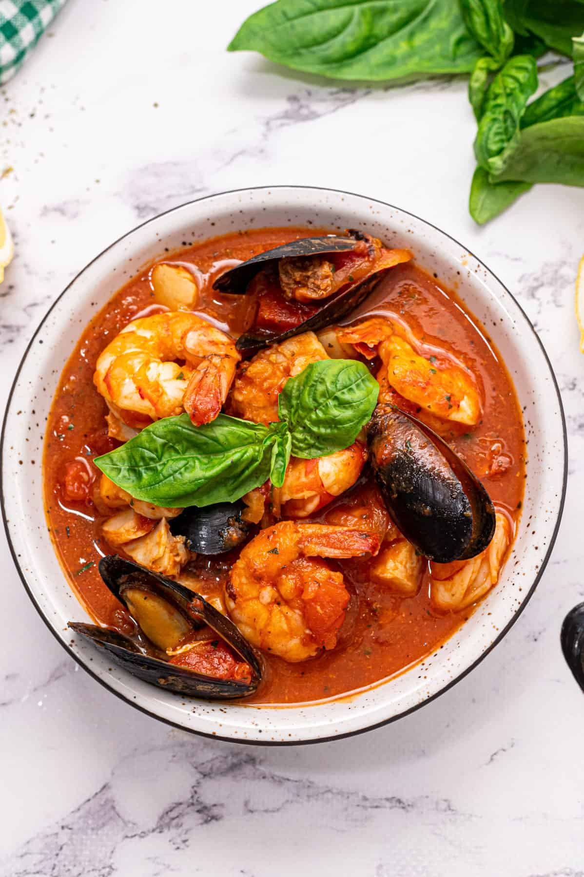 A bowl of cioppino stew.