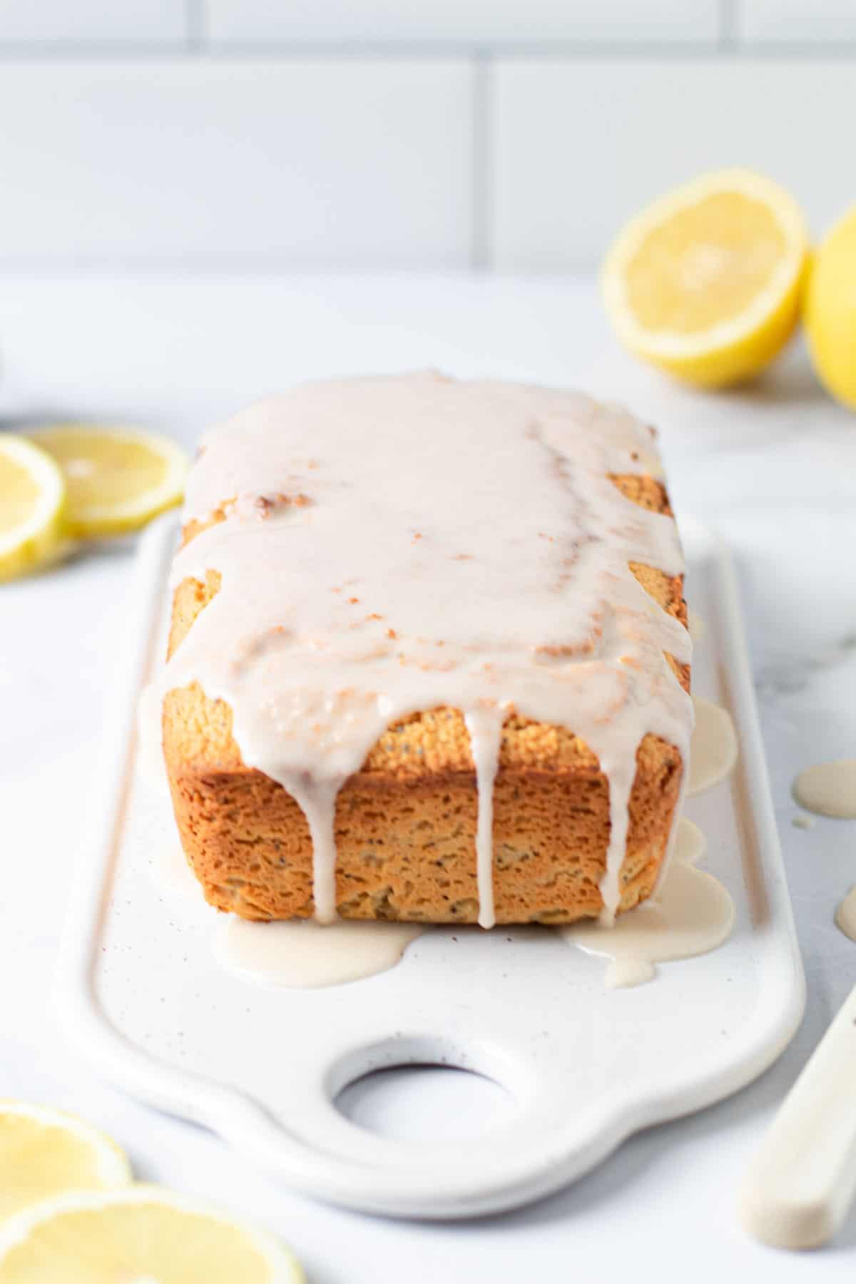 Glazed lemon poppy seed bread.