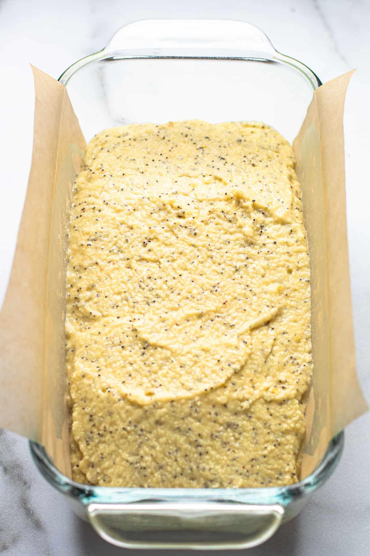 Gluten Free Lemon Bread unbaked in a loaf pan.