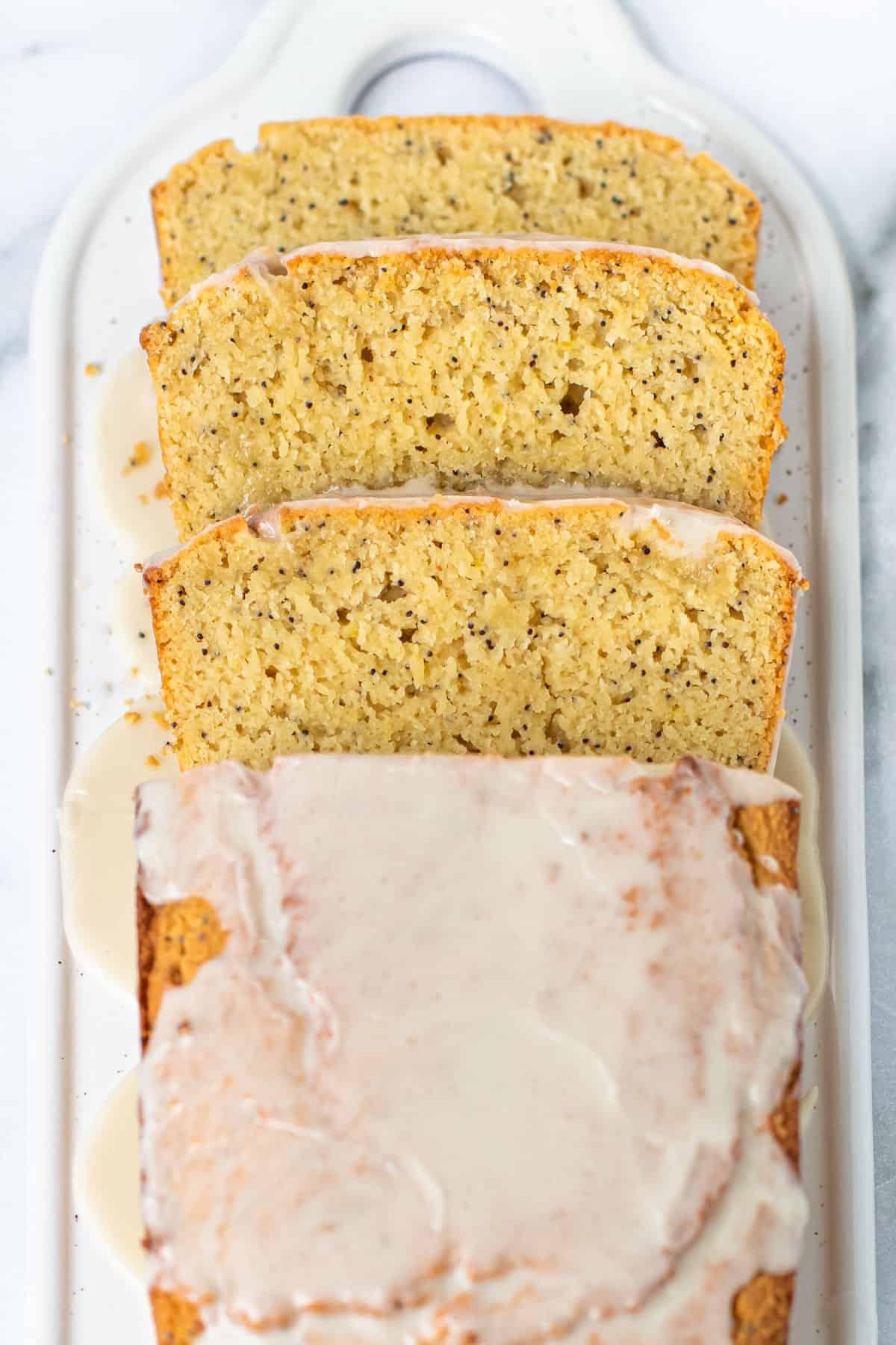 Slices of lemon poppy seed bread.