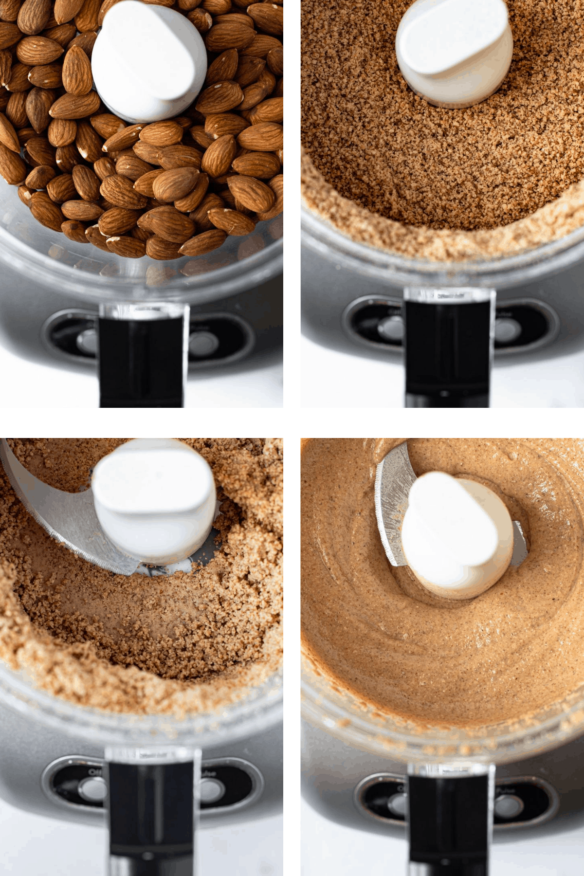 How to make almond butter in 4 steps in a food processor.