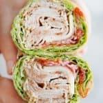 A lettuce wrap sandwich.